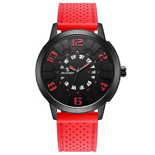 Men Casual Analog Quartz Unique Waterproof Dress Wrist Watch Large Digital Display Auto Rotation Calendar Auto Calendar Watch