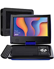 """SUNPIN 11"""" Portable DVD Player for Car and Kids with 9.5 inch HD Swivel Screen, 5 Hour Rechargeable Battery, Dual Earphone Jack, Supports SD Card/USB/CD/DVD, with Extra Headrest Mount Case (Blue)"""