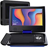 "SUNPIN 11"" Portable DVD Player for Car and Kids with 9.5 inch HD Swivel Screen, 5 Hour Rechargeable Battery, Dual Earphone Jack, Supports SD Card/USB/CD/DVD, with Extra Headrest Mount Case (Blue)"
