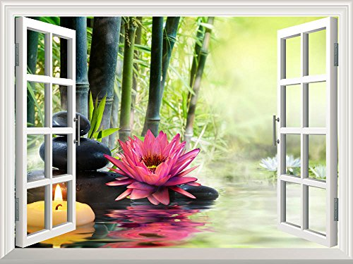 Wall26 Removable Wall Sticker Wall Mural Massage In Nature Lily Stones Bamboo Zen Concept Creative Window View Home Decor Wall Decor 36 X48