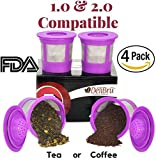 Appliances : 4 Reusable K Cups for Keurig 2.0 & 1.0 Coffee Makers. Universal Refillable KCups, Keurig filter, Reusable kcup, k cup k-cups reusable filter by Delibru BPA FREE