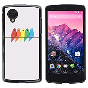 Estuche Cubierta Shell Smartphone estuche protector duro para el teléfono móvil Caso LG Google Nexus 5 D820 D821 / CECELL Phone case / / birds colors painting birch minimalist /