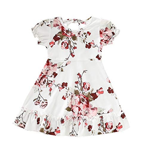 - YOUNGER TREE Toddler Baby Girls Summer Floral Dress Sleeveless Princess Party Pageant Dresses Sundress (White, 3-4 Years)