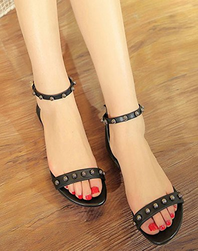 Aisun Womens Studded Stylish Open Toe Buckled Covered Heels Flat Sandals Shoes With Ankle Straps Black MlXlwiCGUb