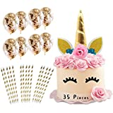 Unicorn Cake Topper with Eyelashes I 35 Piece Pack I 10 x Gold Confetti Balloons I 24 x Environmentally Friendly Gold…