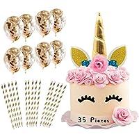 Unicorn Cake Topper with Eyelashes I 35 Piece Pack I 10 x Gold Confetti Balloons I 24 x Environmentally Friendly Gold…