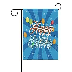 KOTWDQ Pancarta de Feliz cumpleaños Globos Decorativos jardín Bandera poliéster 28x 40Pulgadas, Doble Cara impresión Vacaciones Bandera de Jardín f181618