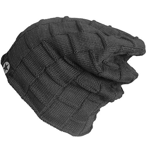 Bodvera Unisex Winter Knit Wool Warm Hat Soft Slouchy Beanie Skully Cap in 3 color, One Size, Black by Bodvera (Image #2)