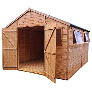 waltons 12 x 10 shiplap apex wooden garden shed with two opening windows