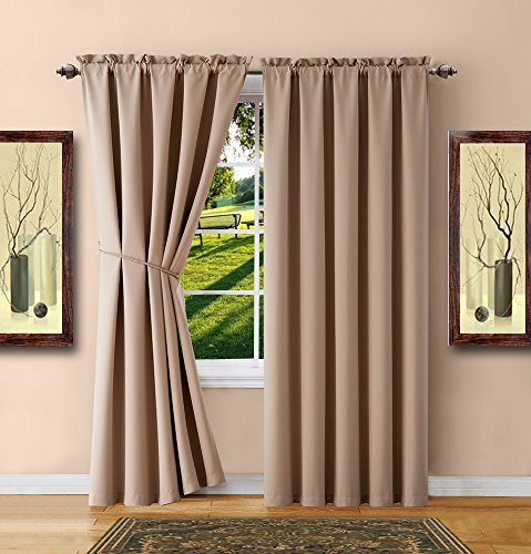 "Warm Home Designs 1 Pair of 2 Long Size 54"" x 96\"" Taupe Room Darkening Curtains with 2 Free Matching Tie-Backs. Total Width 108\"". Save by Buying Blackout Pairs Instead of Single Panels. E Taupe 96"
