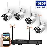 [Full HD]Wireless Security Camera System,SMONET 4CH 1080P Wireless Video Security System(NVR KITS),4pcs 1080P Wireless Indoor/Outdoor Wireless IP Cameras,P2P,65ft Night Vision,Easy Remote View,NO HDD