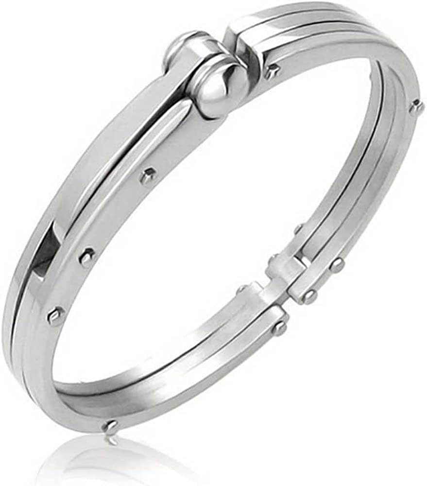 3f1864f31 Amazon.com: Partner in Crime Handcuff for Mens for Women Bracelet Bangle  Silver Tone Stainless Steel: Jewelry