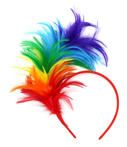 Felizhouse 1920s Fascinator with Feathers Headband for Women Kentucky Derby Wedding Tea Party Headwear (Rainbow)
