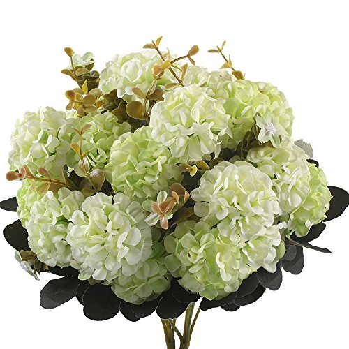 Gtidea 2pcs Artificial hydrangea flowers Silk Bouquet 10 Heads Arrangements Bridal Home DIY Floor Garden Office Wedding Decor Light Green