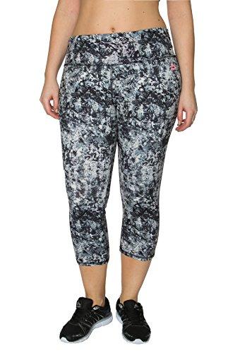 RBX Active Plus Size Seasonal Printed Capri Length Yoga Pants,Grey Static Print,1X Plus