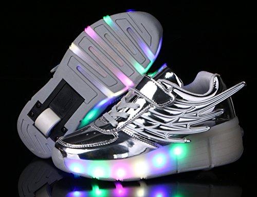 Mr.Ang con Luces LED Coloridos Parpadeante Neutra ruedas de Patines de Rueda Patín Zapatos Zapatos del Patín Zapatos Deportivos Niños y Niñas de Calzado Deportivo Zapatos de Skate K02 Argent