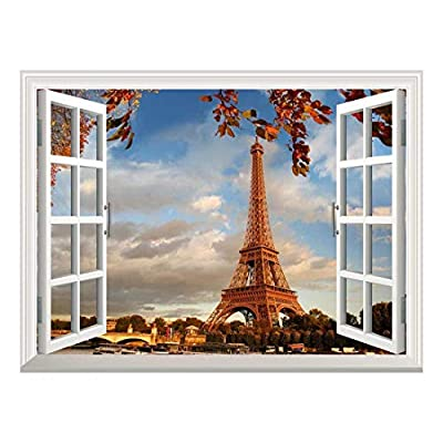 Lovely Visual, Removable Wall Sticker Wall Mural Eiffel Tower in Autumn Paris France Creative Window View Wall Decor, Quality Artwork