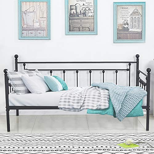 (VECELO Premium Daybed Frame Twin Size Multifunctional Metal Platform with Headboard Victorian Style,Mattress Foundation/Children Bed Sofa for Guest Living Room, Black)