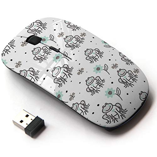 (Ergonomic Optical 2.4G Wireless Mouse with Printed Patterns for All Laptops & Desktops - Funny Frogs Grey Blue)