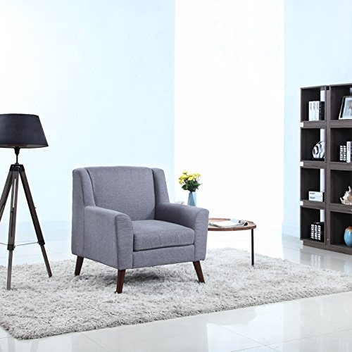 Modern And Sleek Linen Fabric Living Room Armchair Light Grey Buy Online In Uae Products