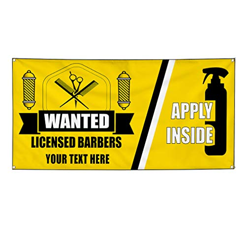 Custom Industrial Vinyl Banner Multiple Sizes Wanted Licensed Barbers Apply Inside Personalized Text Profession Outdoor Weatherproof Yard Signs Yellow 8 Grommets 44x110Inches from Fastasticdeals