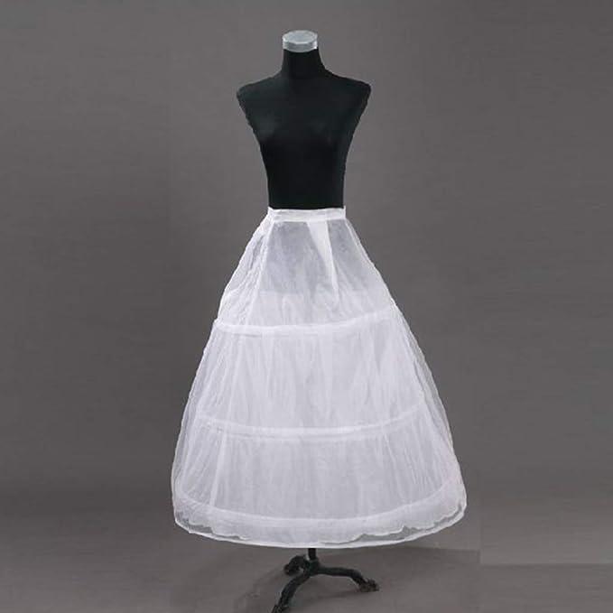 MAZE MA Robe de mari/ée 2 couches en maille 3 anneaux Blanc Robe de mari/ée Jupon Elastique Ceinture Cordon de serrage A-ligne Crinoline