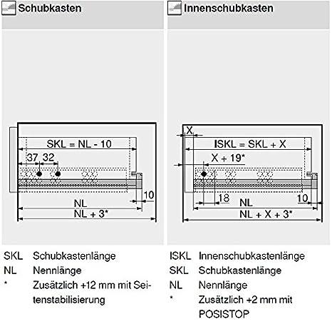 ; 1 Paar inkl BLUM Tandem Schubladen-Auszug  550mm Vollauszug mit Blumotion =Softclose Kupplung