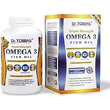Dr. Tobias Omega 3 Fish Oil Triple Strength, Burpless, Non-GMO, NSF-Certified, 180 Counts