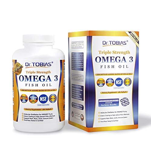 Dr. Tobias Omega 3 Fish Oil Triple Strength, Burpless, Non-GMO, NSF-Certified, 180 Counts