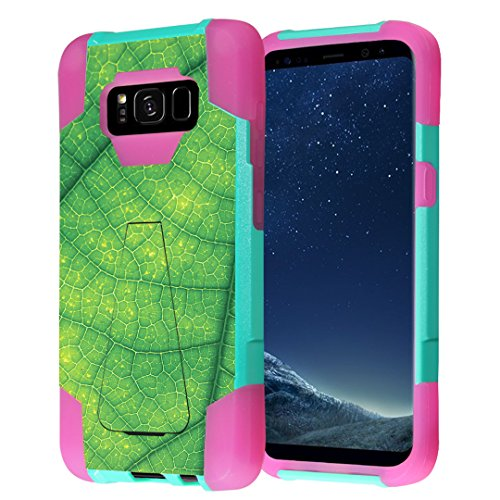 Galaxy S8+ Case, Capsule-Case Hybrid Fusion Dual Layer Shockproof Combat Kickstand Case (Teal Mint Green & Pink) for Samsung Galaxy S8+ S8Plus SM-G955 SPHG955 - (Green Leaf Veins)