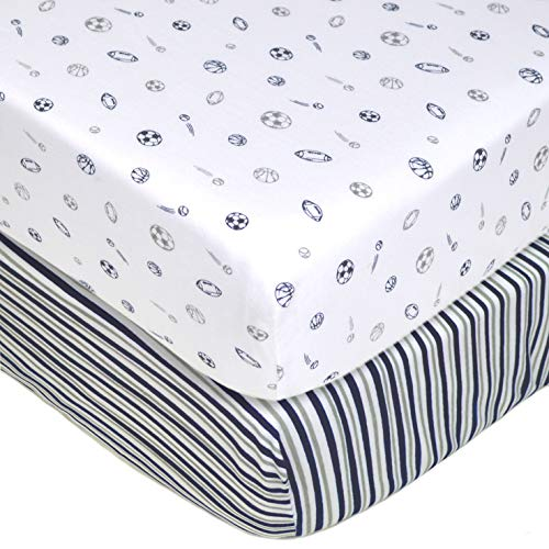 American Baby Company 2 Pack Printed 100% Cotton Jersey Knit Fitted Crib Sheet for Standard Crib and Toddler Mattresses, Navy/Grey Sports Stripes, for Boys and -