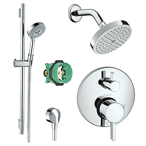 Hansgrohe KSH04447-04342-66PC Raindance Shower Faucet Kit with Handshower Wallbar PBV Trim with Diverter and Rough, Chrome