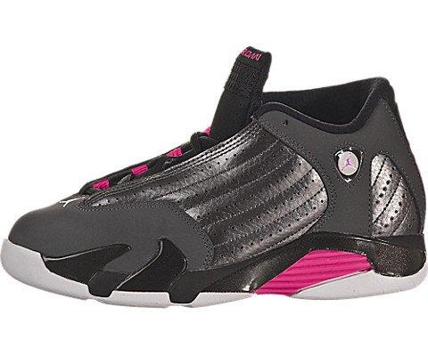Nike Jordan Kids Jordan 14 Retro GP Mtlc Drk Gry/Hypr Pnk/Blck/Wht Basketball Shoe 12 Kids US (14 Jordan Women Retro)