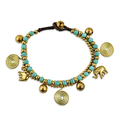 - AeraVida Forest Swirl Elephant Simulated Turquoise Jingle Bell Fashion Brass Beads Handmade Bracelet