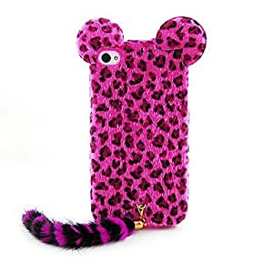 Flocking Leopard Print Cat With Tail Designed Back Case for iPhone 4/4S(Assorted Color) --- COLOR:Blue