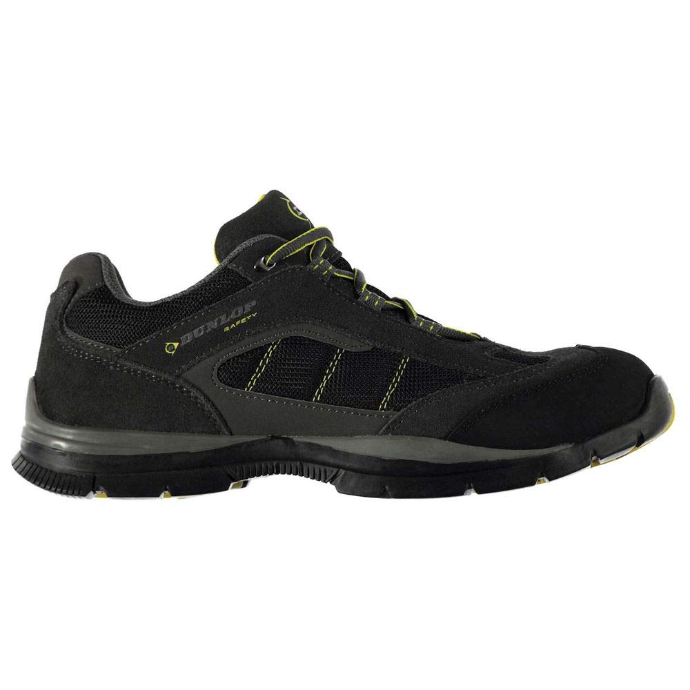 Dunlop Men's Safety Iowa Steel Toe Work Shoes Charcoal/Yellow 7