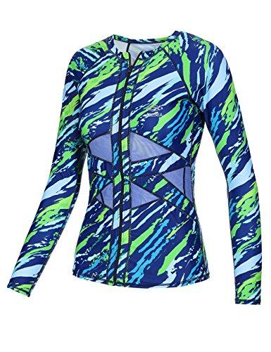 AXESEA Women Long Sleeve Rashguard UPF 50+ UV Sun Protection Zip Front Swimsuit Shirt Printed Surfing Shirt Top 3color/6sizes