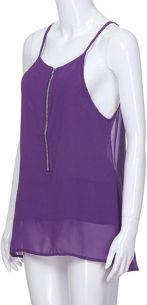 iLUGU Women Chiffon Zipper V Neck Vest Tank Top Cami Sleeveless Shirt Blouse High