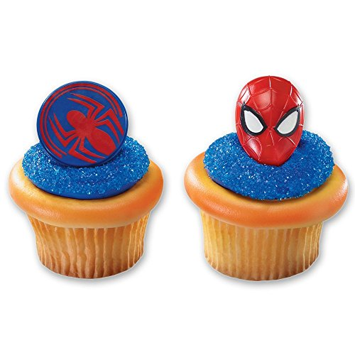 Spiderman Mask and Spider Cupcake Rings - 24 (Spider Man Cakes)
