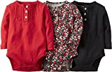 Carters Baby Girls 3-Pack Long-Sleeve Bodysuits Floral Pintuck (6 Months)
