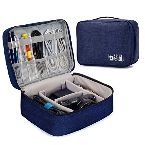 EAYIRA Gedget Organiser Electronics Accessories Organizer Bag, Universal Carry Travel Gadget Bag for Cables, Plug and More, Perfect Size Fits for Pad Phone Charger Hard Disk (Dark Blue)