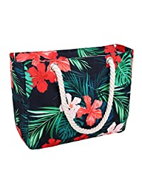 Luxspire Waterproof Beach Bag, Cotton Rope Handles, Top Zipper Closure Two Outside Pockets Beach Tote Bag - Colorful Flowers