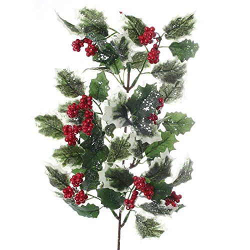 Holly Spray - Factory Direct Craft Sparkling Artificial Varigated Holly Leaf and Red Berry Spray for Holiday Home Decor