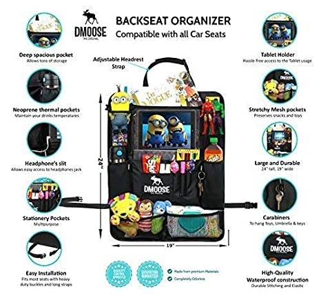 24 x 19 Insulated Thermal Pockets Large Use as Seat Back Protector DMoose Car Backseat Organizer with Tablet Holder for Kids and Toddlers Car Organizer CB-1 Strong Buckles Kick Mat