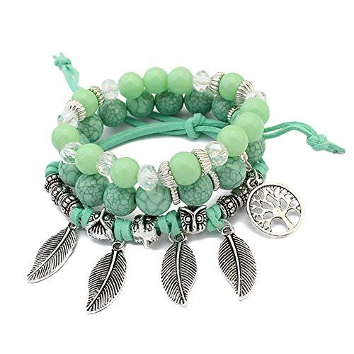 Green Mexican Bracelet - MineSign Girls Charm Bracelet Womens Beads Bracelets Owl Leaf Life Tree (Turquoise)
