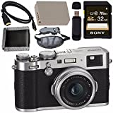 Fujifilm X100F Digital Camera Silver 32GB + Battery + Charger + Card + HDMI Cable + Memory Card Wallet + Card Reader + LED Light Bundle For Sale