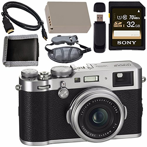 Fujifilm X100F Digital Camera Silver 32GB + Battery + Charger + Card + HDMI Cable + Memory Card Wallet + Card Reader + LED Light Bundle