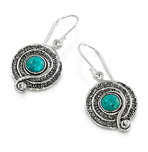 Vintage Style 925 Sterling Silver Turquoise Dangle Earrings with Decorative Spiral or Swirl (Swirl French Hook Earrings)
