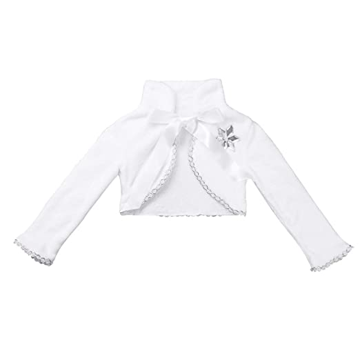 CHICTRY Little Girls Princess Winter Dress up Long Sleeve Faux Fur Snowflakes Bolero Jacket Coat Wraps