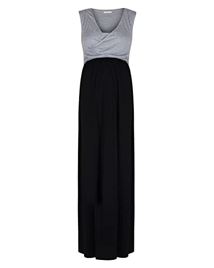 e1f505afd0a13 The Essential One - Maternity Black Grey Wrap Tie Nursing Maxi Dress -  Small - Grey